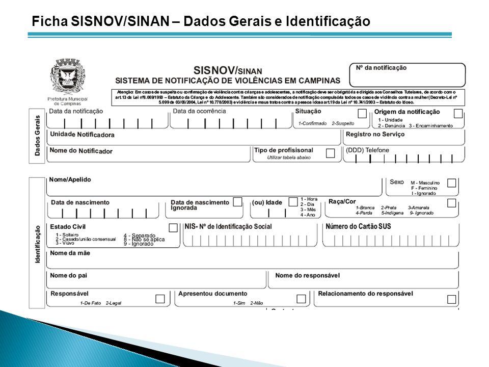 Ficha SISNOV/SINAN – Dados Gerais e Identificação