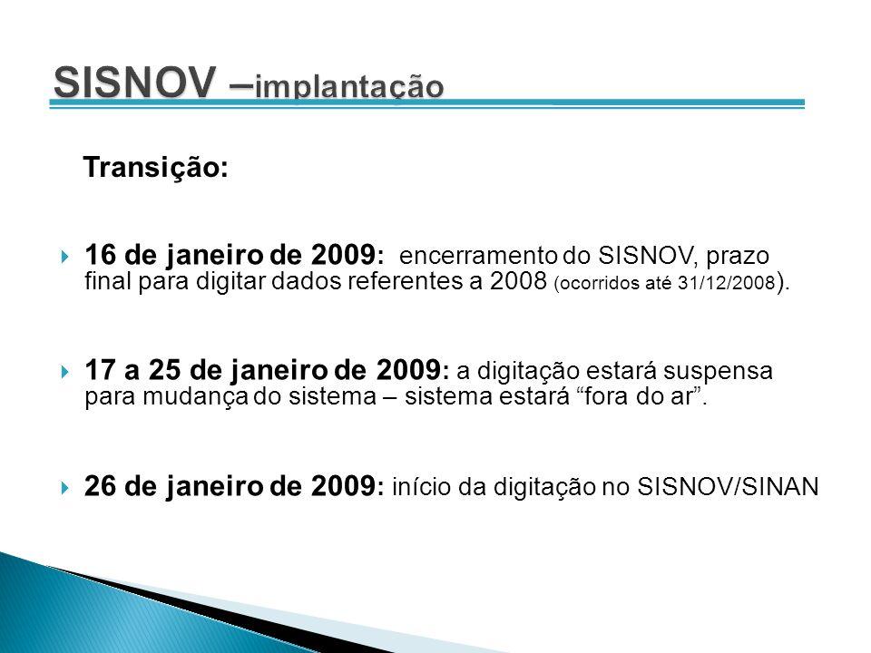 16 de janeiro de 2009 : encerramento do SISNOV, prazo final para digitar dados referentes a 2008 (ocorridos até 31/12/2008 ). 17 a 25 de janeiro de 20