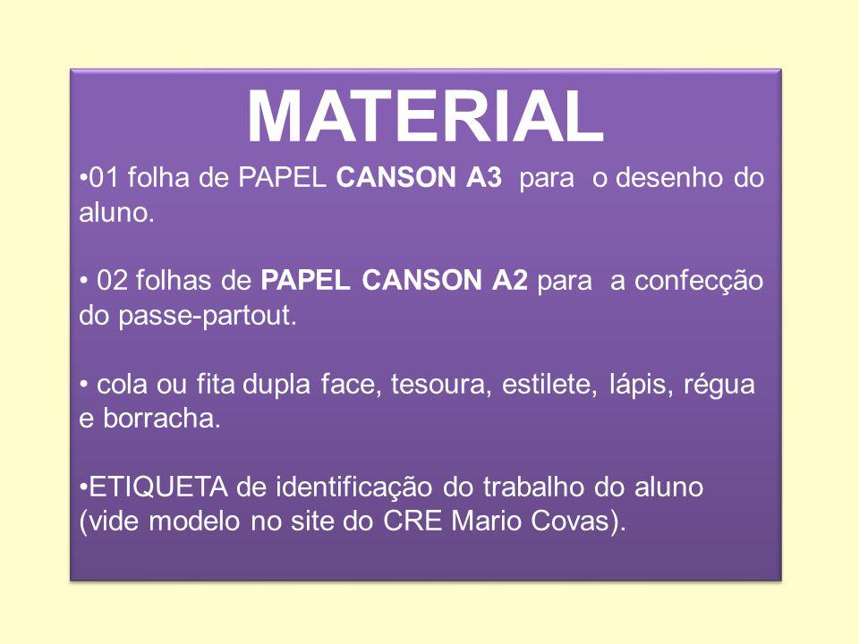 MATERIAL 01 folha de PAPEL CANSON A3 para o desenho do aluno.