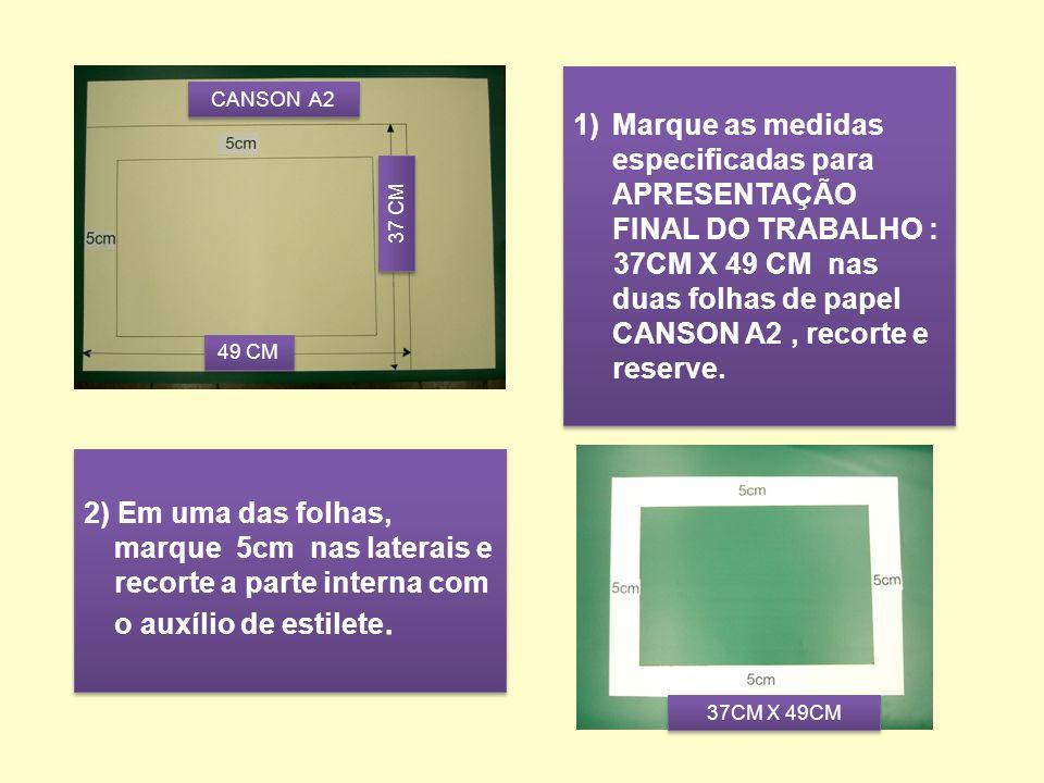 1) Marque as medidas especificadas para APRESENTAÇÃO FINAL DO TRABALHO : 37CM X 49 CM nas duas folhas de papel CANSON A2, recorte e reserve.