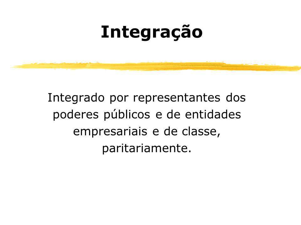 Integração Integrado por representantes dos poderes públicos e de entidades empresariais e de classe, paritariamente.