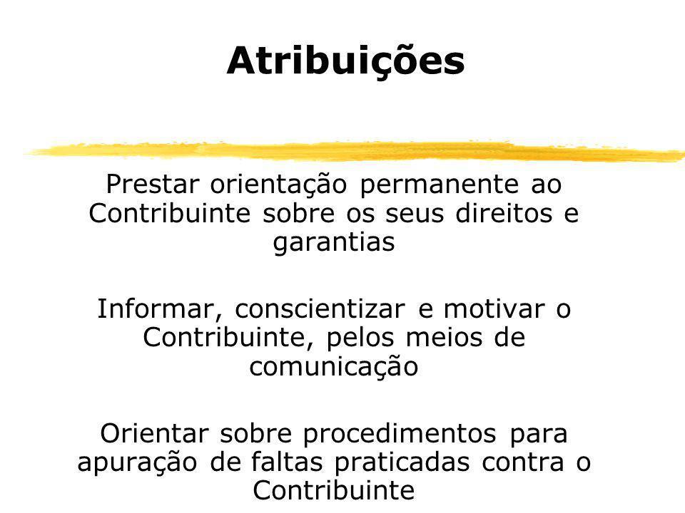 Atribuições Prestar orientação permanente ao Contribuinte sobre os seus direitos e garantias Informar, conscientizar e motivar o Contribuinte, pelos m