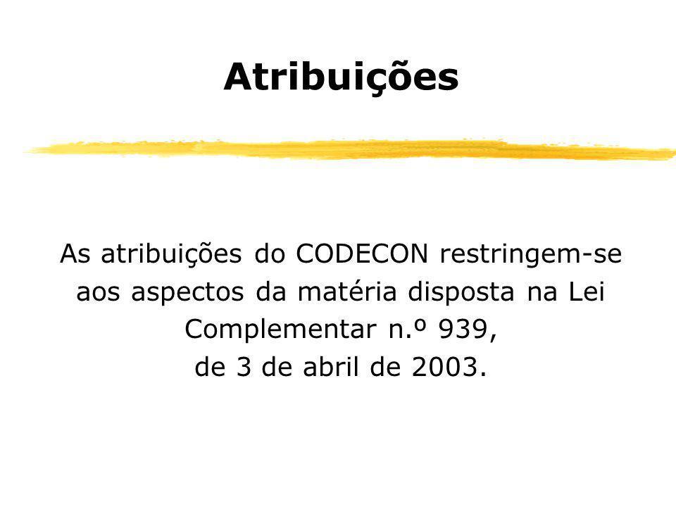 Atribuições As atribuições do CODECON restringem-se aos aspectos da matéria disposta na Lei Complementar n.º 939, de 3 de abril de 2003.
