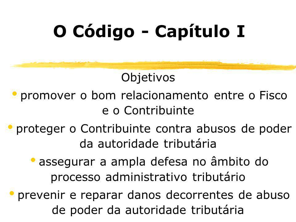 O Código - Capítulo I Objetivos promover o bom relacionamento entre o Fisco e o Contribuinte proteger o Contribuinte contra abusos de poder da autorid