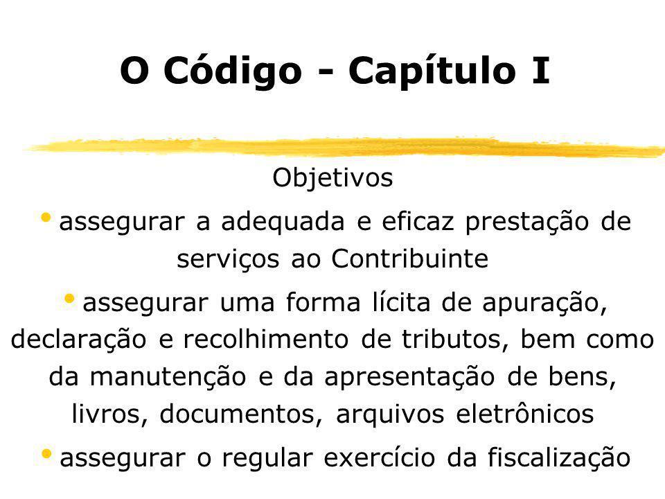O Código - Capítulo I Objetivos assegurar a adequada e eficaz prestação de serviços ao Contribuinte assegurar uma forma lícita de apuração, declaração