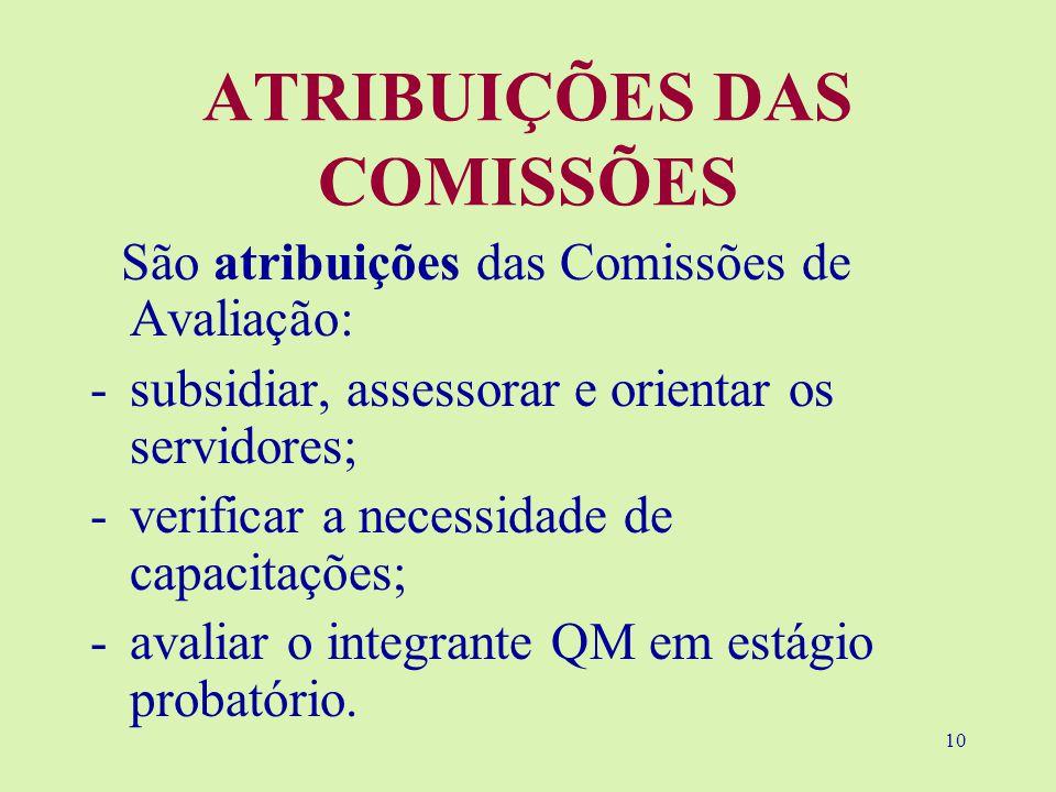 10 ATRIBUIÇÕES DAS COMISSÕES São atribuições das Comissões de Avaliação: -subsidiar, assessorar e orientar os servidores; -verificar a necessidade de capacitações; -avaliar o integrante QM em estágio probatório.