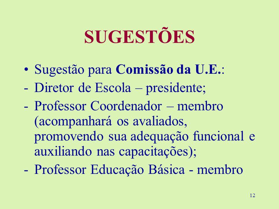 12 SUGESTÕES Sugestão para Comissão da U.E.: -Diretor de Escola – presidente; -Professor Coordenador – membro (acompanhará os avaliados, promovendo sua adequação funcional e auxiliando nas capacitações); -Professor Educação Básica - membro