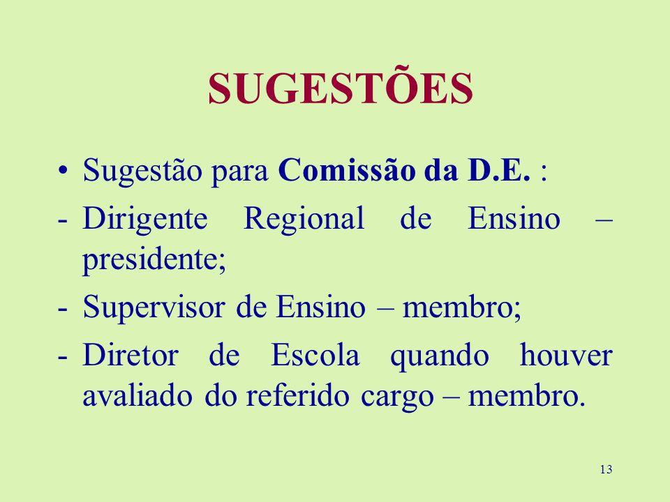 13 SUGESTÕES Sugestão para Comissão da D.E.