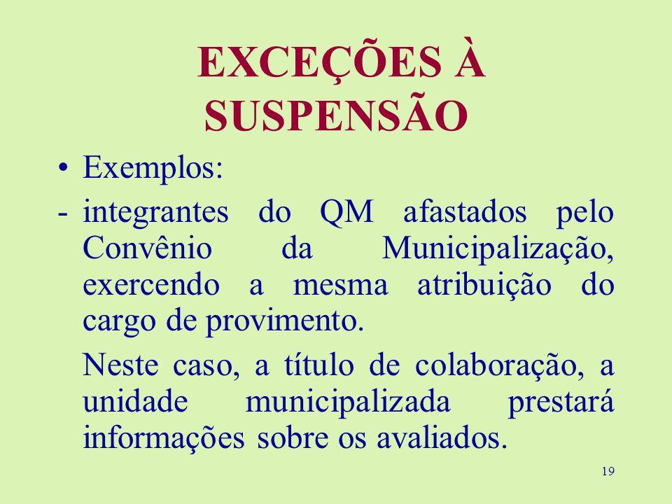 19 EXCEÇÕES À SUSPENSÃO Exemplos: -integrantes do QM afastados pelo Convênio da Municipalização, exercendo a mesma atribuição do cargo de provimento.