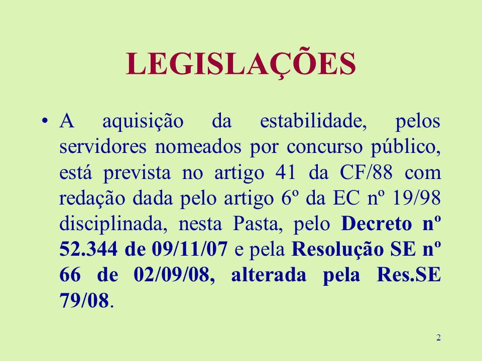 2 LEGISLAÇÕES A aquisição da estabilidade, pelos servidores nomeados por concurso público, está prevista no artigo 41 da CF/88 com redação dada pelo artigo 6º da EC nº 19/98 disciplinada, nesta Pasta, pelo Decreto nº 52.344 de 09/11/07 e pela Resolução SE nº 66 de 02/09/08, alterada pela Res.SE 79/08.