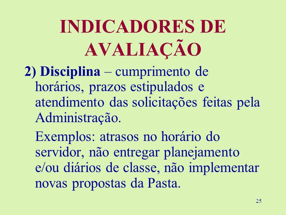 25 INDICADORES DE AVALIAÇÃO 2) Disciplina – cumprimento de horários, prazos estipulados e atendimento das solicitações feitas pela Administração.