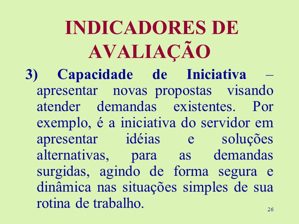 26 INDICADORES DE AVALIAÇÃO 3) Capacidade de Iniciativa – apresentar novas propostas visando atender demandas existentes.