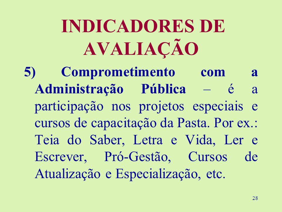 28 INDICADORES DE AVALIAÇÃO 5) Comprometimento com a Administração Pública – é a participação nos projetos especiais e cursos de capacitação da Pasta.