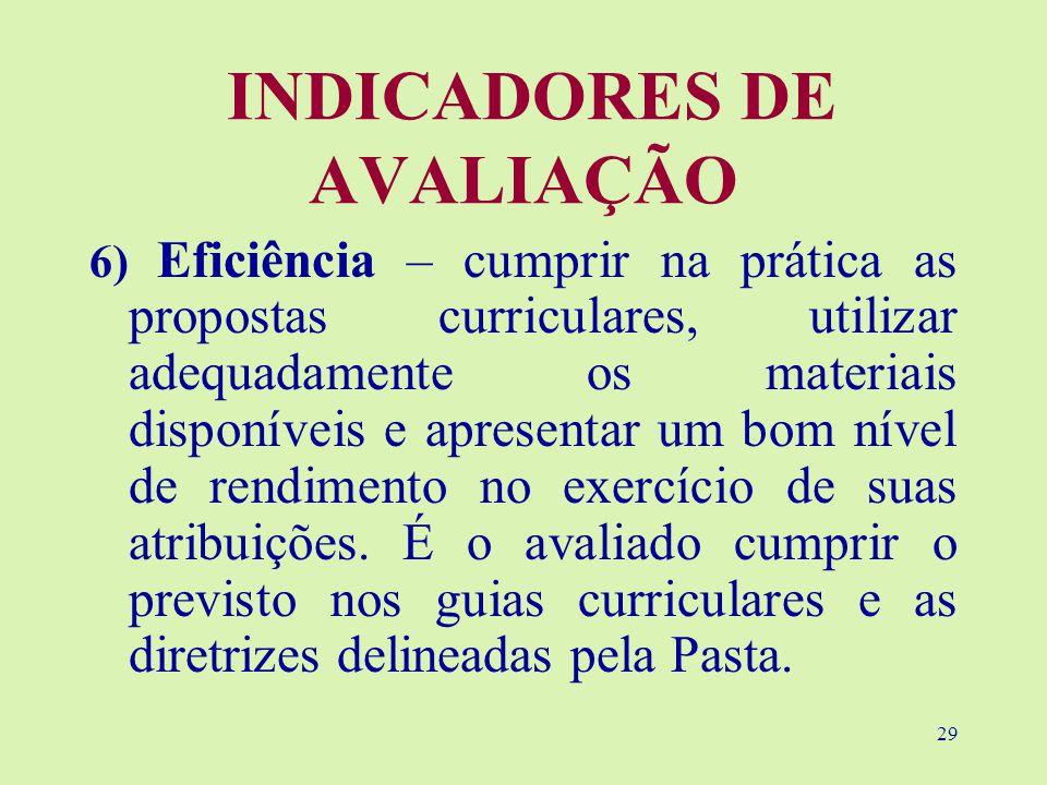 29 INDICADORES DE AVALIAÇÃO 6) Eficiência – cumprir na prática as propostas curriculares, utilizar adequadamente os materiais disponíveis e apresentar um bom nível de rendimento no exercício de suas atribuições.