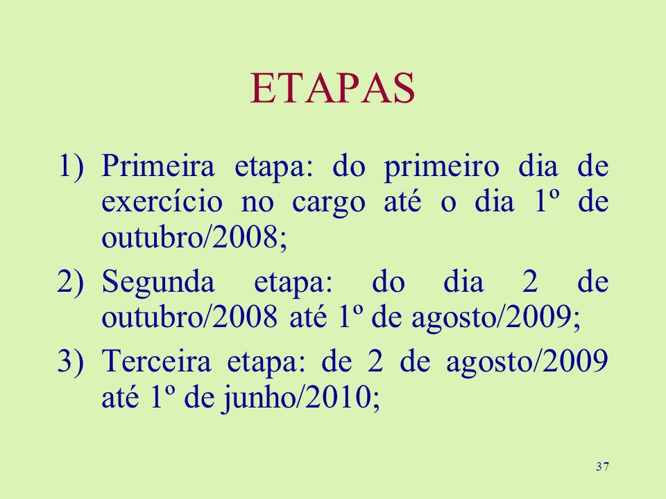 37 ETAPAS 1)Primeira etapa: do primeiro dia de exercício no cargo até o dia 1º de outubro/2008; 2)Segunda etapa: do dia 2 de outubro/2008 até 1º de agosto/2009; 3)Terceira etapa: de 2 de agosto/2009 até 1º de junho/2010;