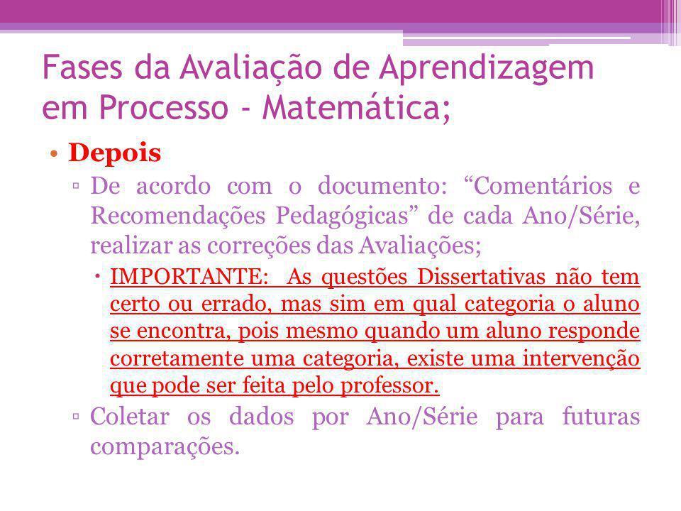 Fases da Avaliação de Aprendizagem em Processo - Matemática; Durante Explicar aos alunos que a Avaliação de Matemática é composta por 10 questões e que algumas são Objetivas e outras Dissertativas, onde neste caso todas as suas anotações referentes a respostas serão consideradas na correção;