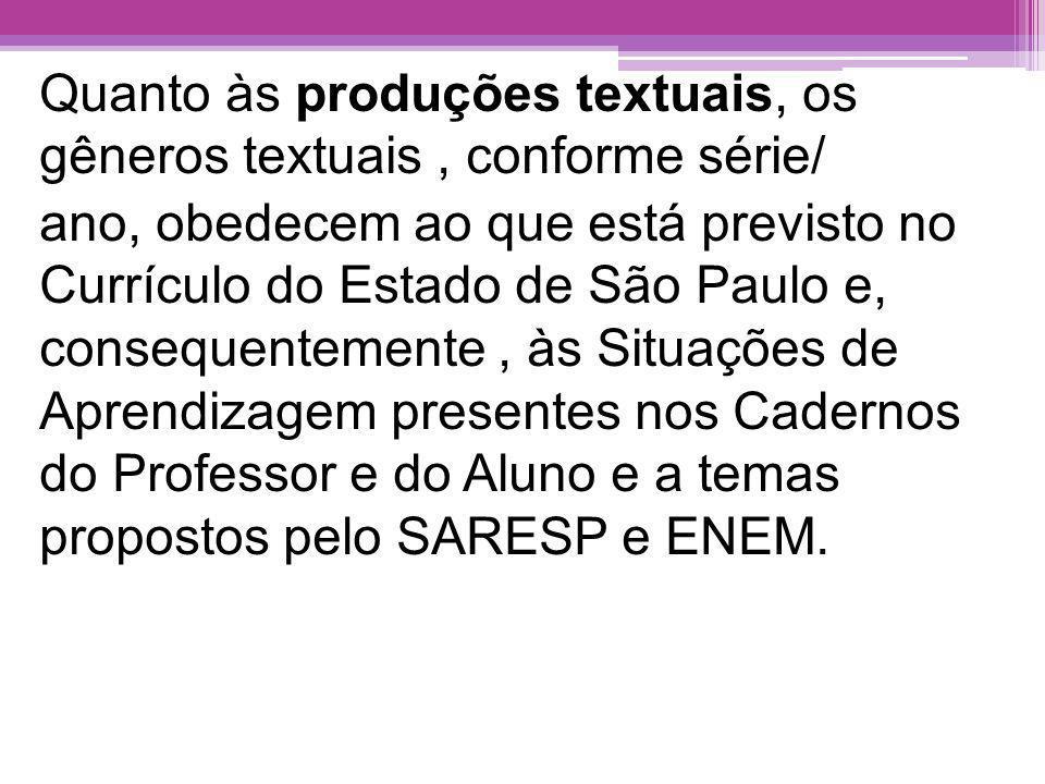 Para a seleção/elaboração das provas objetivas, foram considerados conteúdos e habilidades pautados no Currículo Oficial do Estado de São Paulo, Caderno do Professor Língua Portuguesa, Matriz de Referência para a Avaliação - SARESP, Prova Brasil, ENEM.