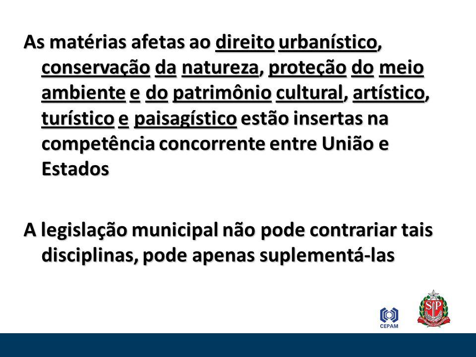 As matérias afetas ao direito urbanístico, conservação da natureza, proteção do meio ambiente e do patrimônio cultural, artístico, turístico e paisagí