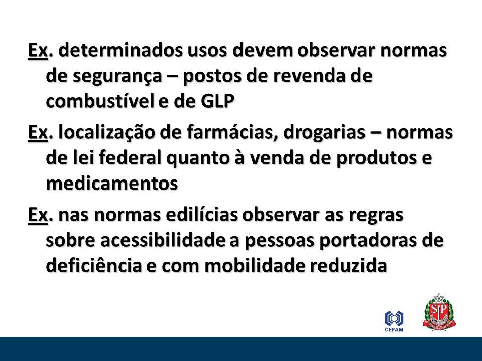 Ex. determinados usos devem observar normas de segurança – postos de revenda de combustível e de GLP Ex. localização de farmácias, drogarias – normas