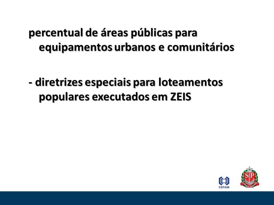 percentual de áreas públicas para equipamentos urbanos e comunitários - diretrizes especiais para loteamentos populares executados em ZEIS