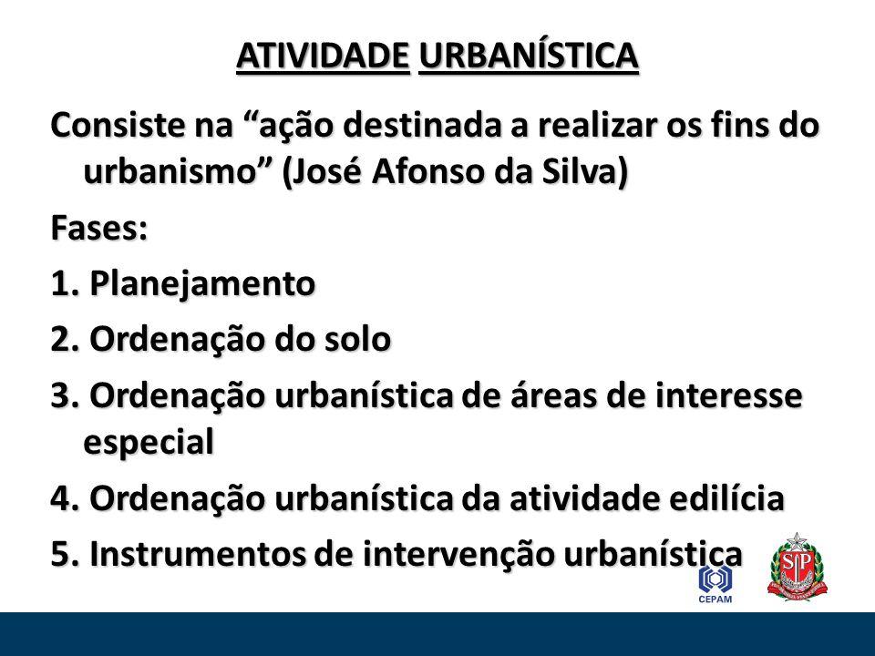 ATIVIDADE URBANÍSTICA Consiste na ação destinada a realizar os fins do urbanismo (José Afonso da Silva) Fases: 1. Planejamento 2. Ordenação do solo 3.