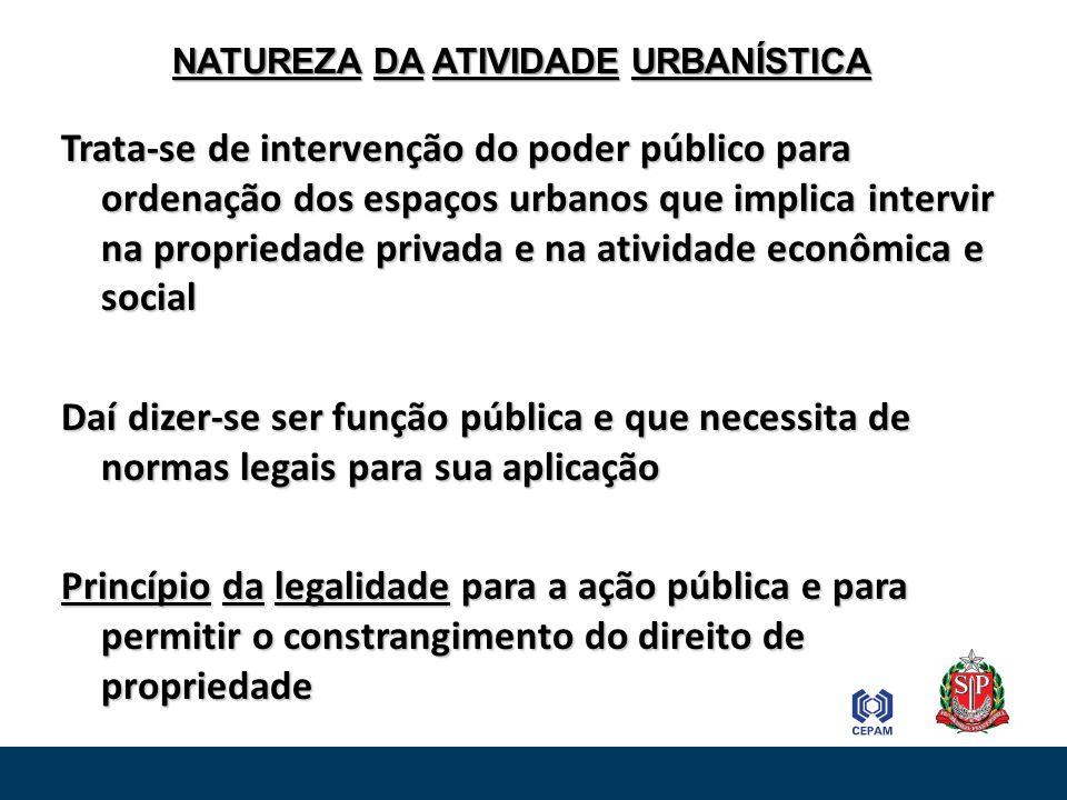 Trata-se de intervenção do poder público para ordenação dos espaços urbanos que implica intervir na propriedade privada e na atividade econômica e soc