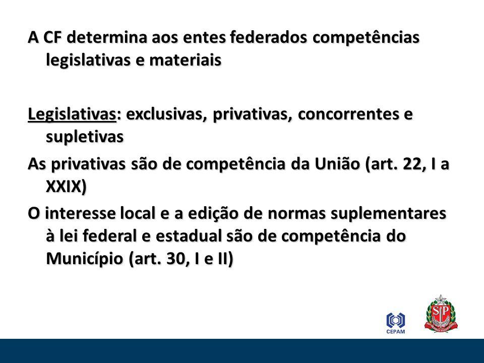 As exclusivas são de competência do Estado que legislam sobre tudo que não for competência privativa federal ou municipal (art.