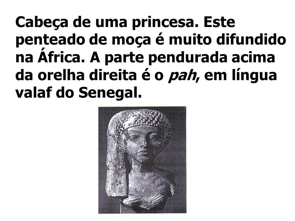 Cabeça de uma princesa. Este penteado de moça é muito difundido na África. A parte pendurada acima da orelha direita é o pah, em língua valaf do Seneg