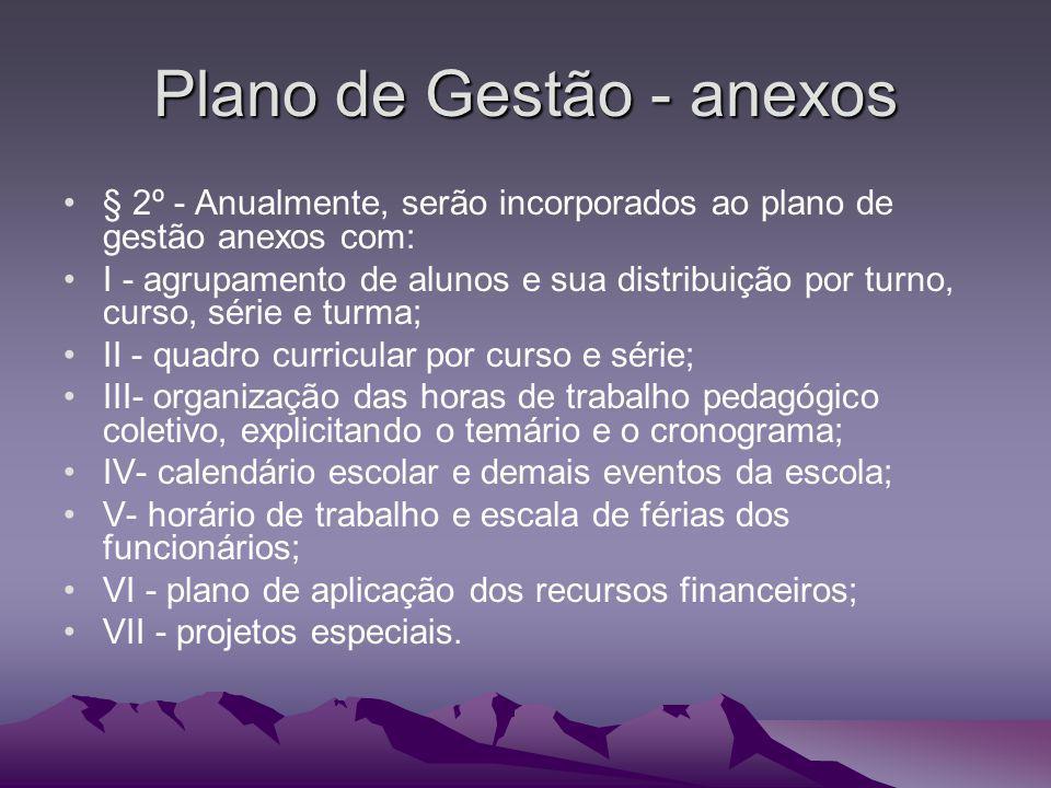 Plano de Gestão - anexos § 2º - Anualmente, serão incorporados ao plano de gestão anexos com: I - agrupamento de alunos e sua distribuição por turno,