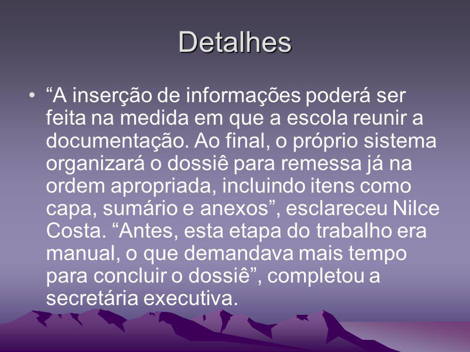 Detalhes A inserção de informações poderá ser feita na medida em que a escola reunir a documentação. Ao final, o próprio sistema organizará o dossiê p