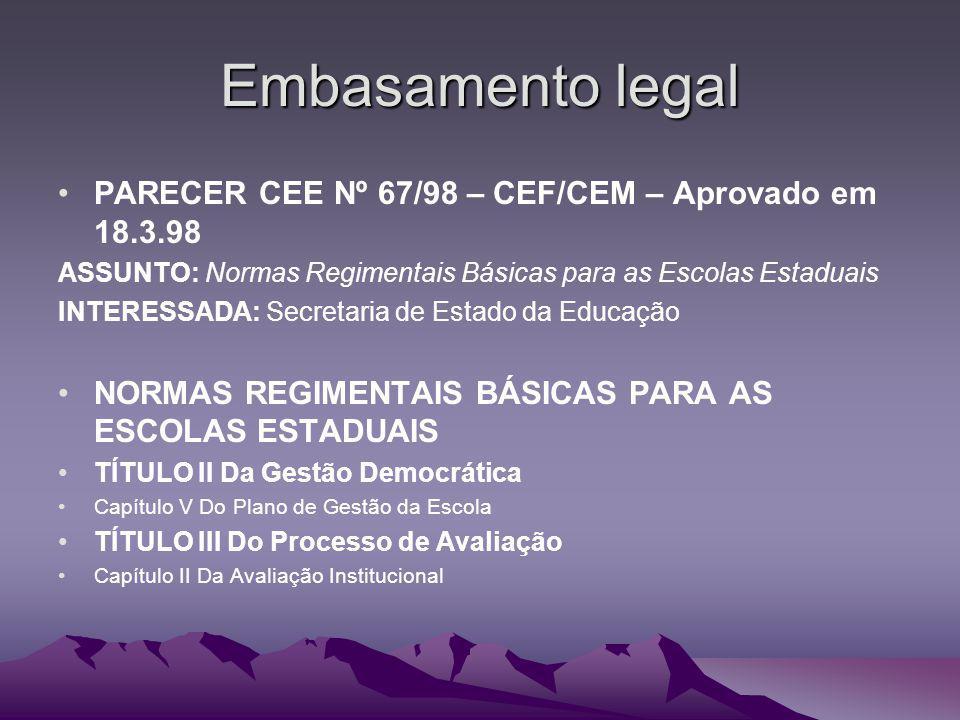 Embasamento legal PARECER CEE Nº 67/98 – CEF/CEM – Aprovado em 18.3.98 ASSUNTO: Normas Regimentais Básicas para as Escolas Estaduais INTERESSADA: Secr