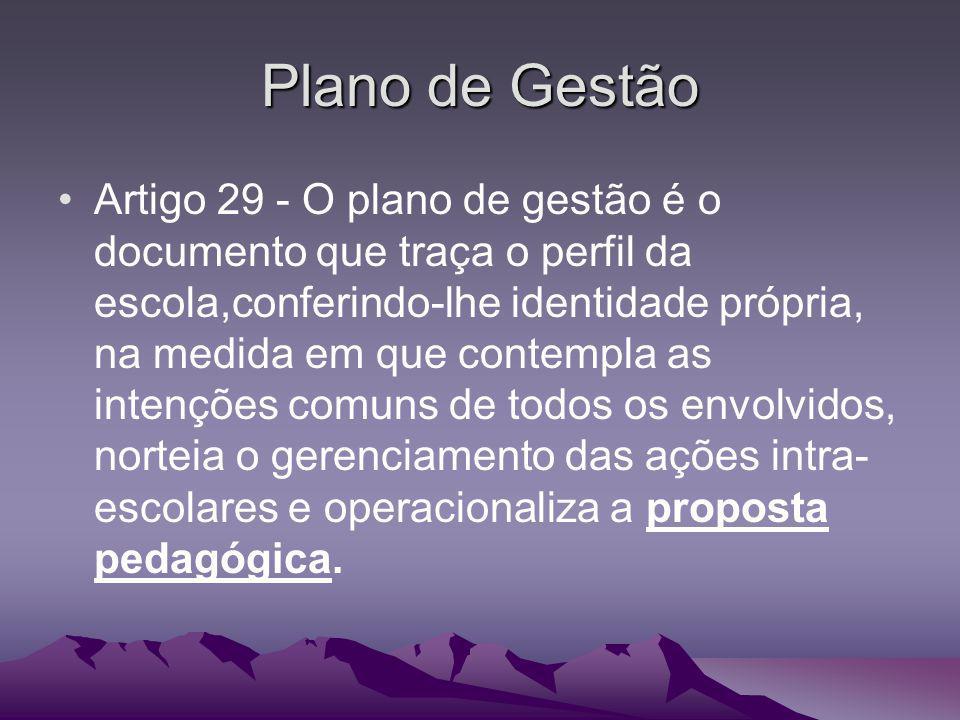 Plano de Gestão Artigo 29 - O plano de gestão é o documento que traça o perfil da escola,conferindo-lhe identidade própria, na medida em que contempla