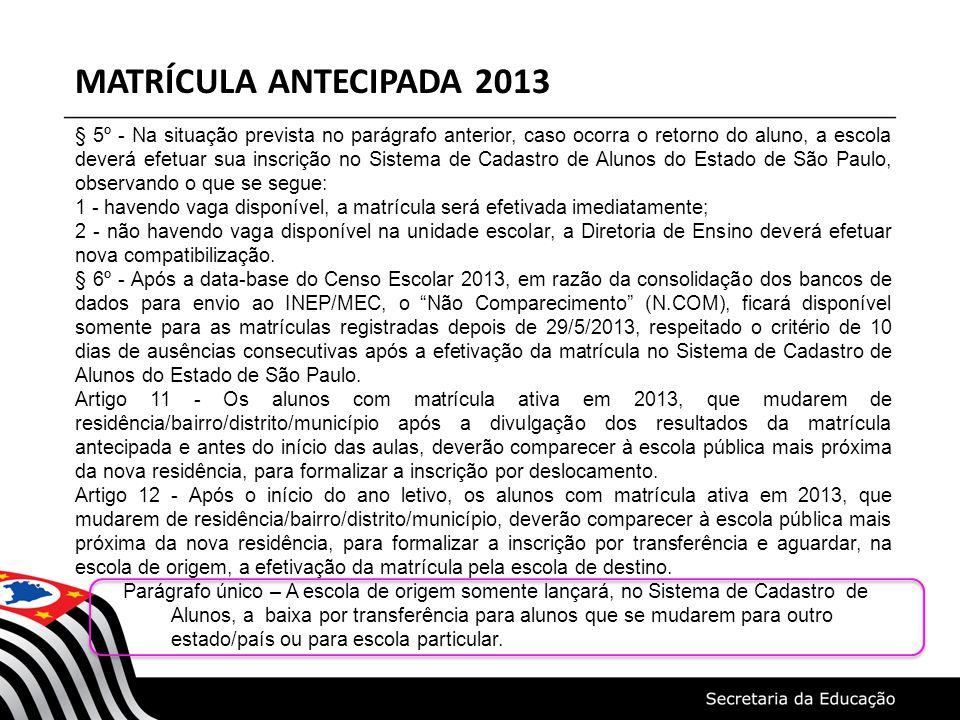 MATRÍCULA ANTECIPADA 2013 § 5º - Na situação prevista no parágrafo anterior, caso ocorra o retorno do aluno, a escola deverá efetuar sua inscrição no