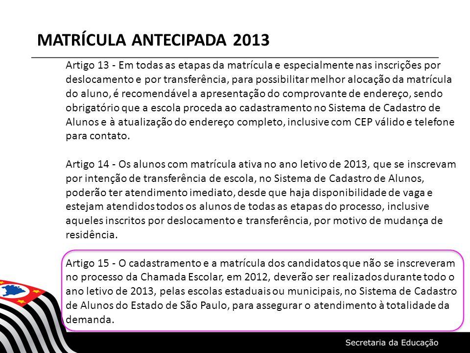 MATRÍCULA ANTECIPADA 2013 Artigo 13 - Em todas as etapas da matrícula e especialmente nas inscrições por deslocamento e por transferência, para possib