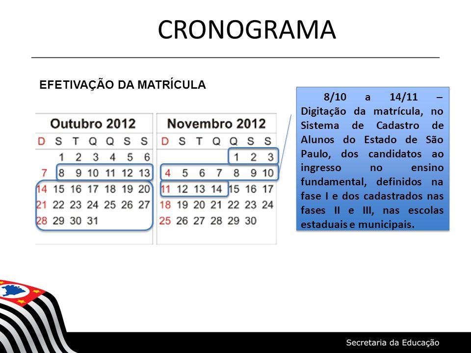 CRONOGRAMA EFETIVAÇÃO DA MATRÍCULA 8/10 a 14/11 – Digitação da matrícula, no Sistema de Cadastro de Alunos do Estado de São Paulo, dos candidatos ao i