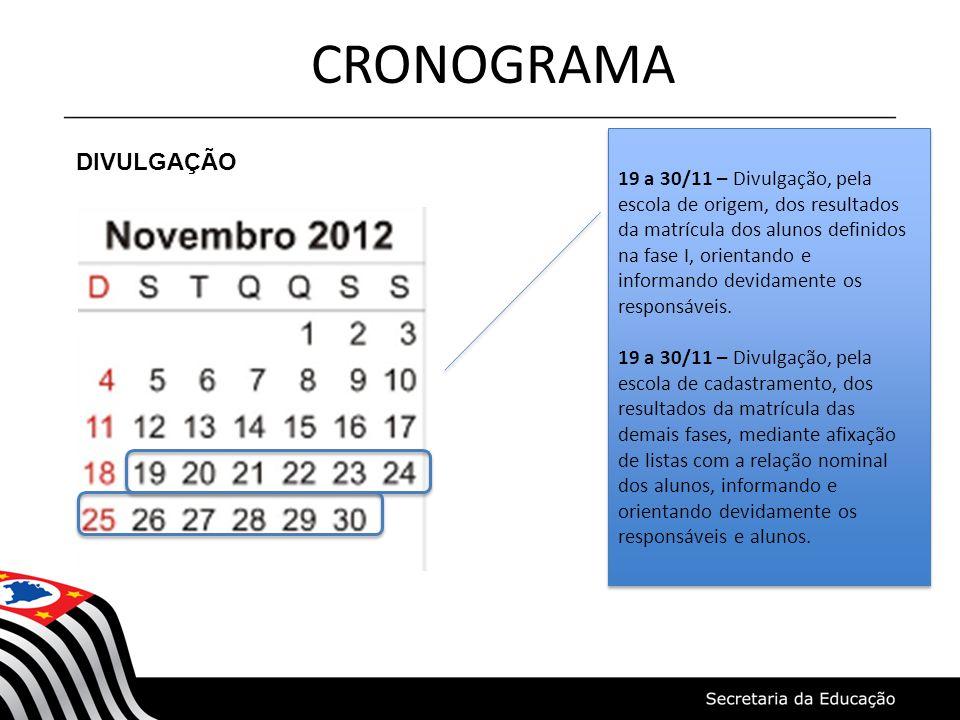 CRONOGRAMA DIVULGAÇÃO 19 a 30/11 – Divulgação, pela escola de origem, dos resultados da matrícula dos alunos definidos na fase I, orientando e informando devidamente os responsáveis.