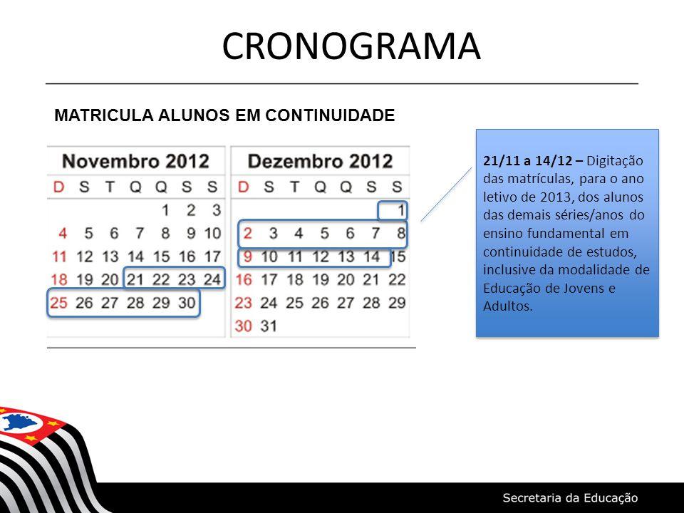 CRONOGRAMA MATRICULA ALUNOS EM CONTINUIDADE 21/11 a 14/12 – Digitação das matrículas, para o ano letivo de 2013, dos alunos das demais séries/anos do