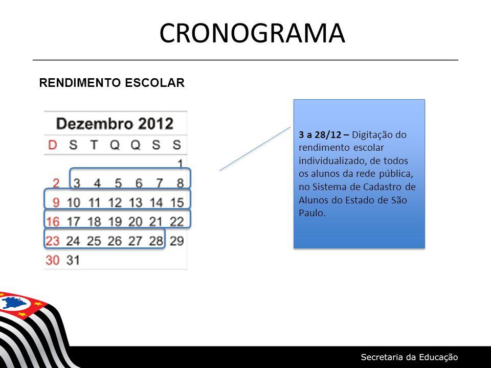CRONOGRAMA RENDIMENTO ESCOLAR 3 a 28/12 – Digitação do rendimento escolar individualizado, de todos os alunos da rede pública, no Sistema de Cadastro