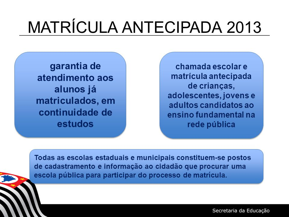 MATRÍCULA ANTECIPADA 2013 chamada escolar e matrícula antecipada de crianças, adolescentes, jovens e adultos candidatos ao ensino fundamental na rede