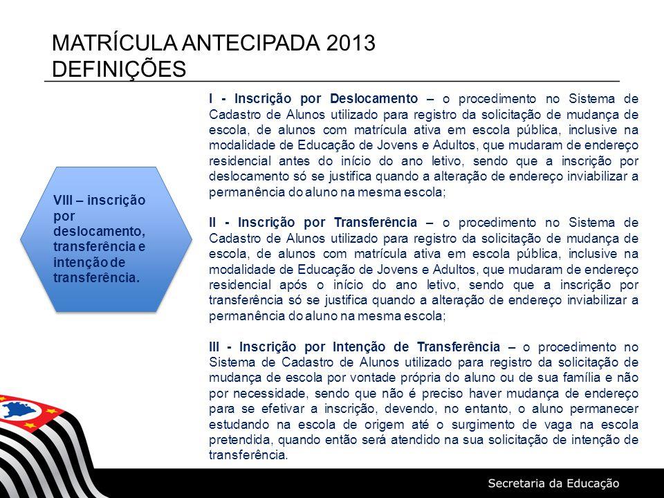 MATRÍCULA ANTECIPADA 2013 DEFINIÇÕES I - Inscrição por Deslocamento – o procedimento no Sistema de Cadastro de Alunos utilizado para registro da solic