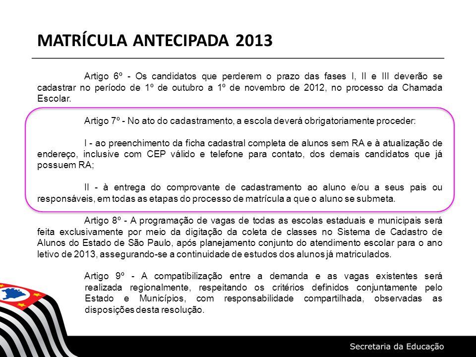 MATRÍCULA ANTECIPADA 2013 Artigo 6º - Os candidatos que perderem o prazo das fases I, II e III deverão se cadastrar no período de 1º de outubro a 1º de novembro de 2012, no processo da Chamada Escolar.