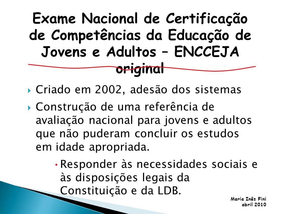 Maria Inês Fini abril 2010 Criado em 2002, adesão dos sistemas Construção de uma referência de avaliação nacional para jovens e adultos que não pudera