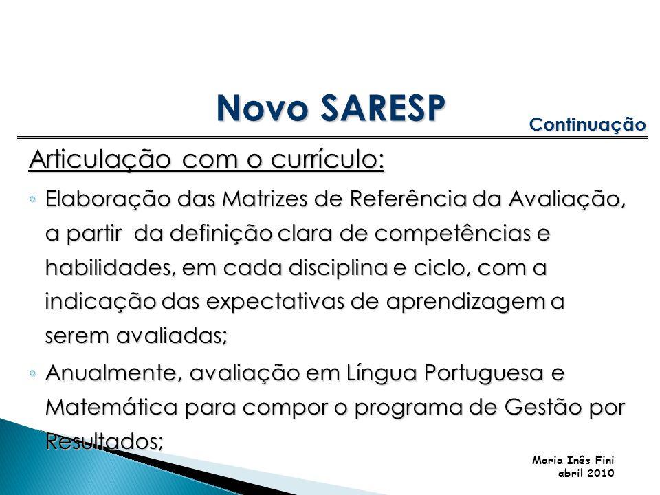 Maria Inês Fini abril 2010 Articulação com o currículo: Elaboração das Matrizes de Referência da Avaliação, a partir da definição clara de competência