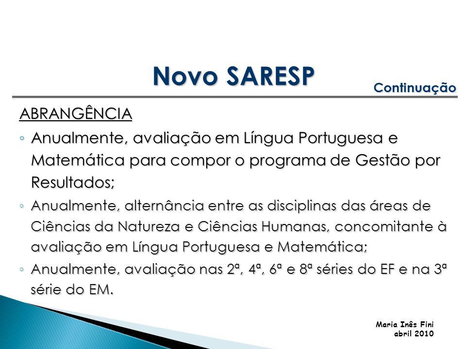 Maria Inês Fini abril 2010 ABRANGÊNCIA Anualmente, avaliação em Língua Portuguesa e Matemática para compor o programa de Gestão por Resultados; Anualm