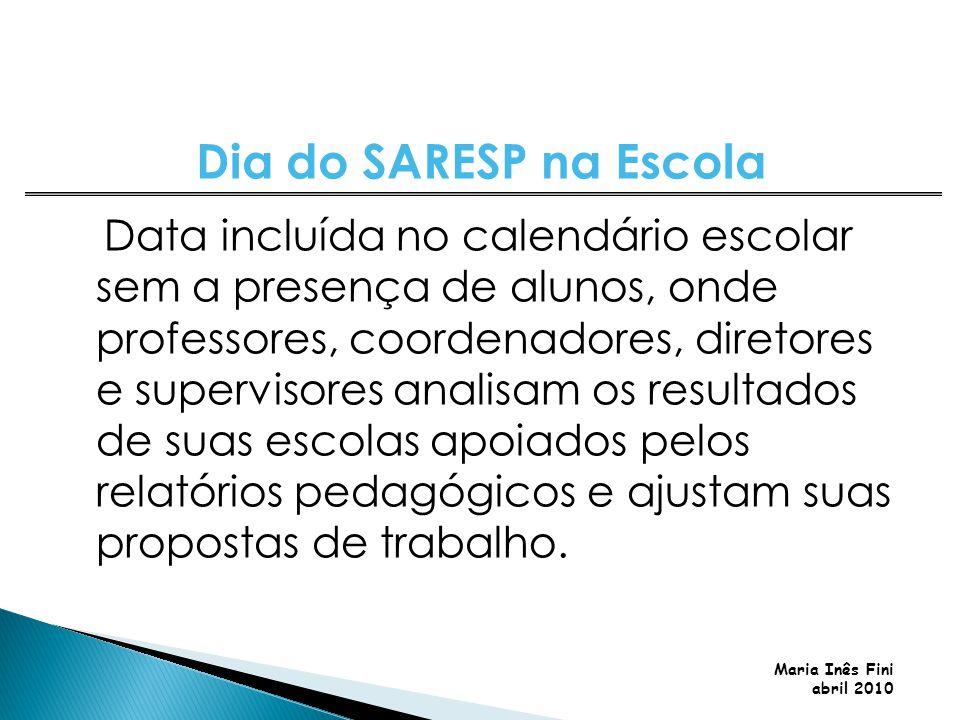Maria Inês Fini abril 2010 Data incluída no calendário escolar sem a presença de alunos, onde professores, coordenadores, diretores e supervisores ana