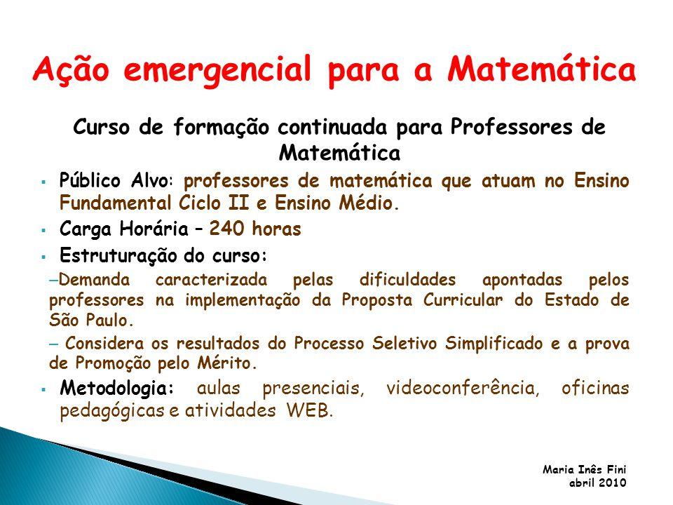 Maria Inês Fini abril 2010 Curso de formação continuada para Professores de Matemática Público Alvo: professores de matemática que atuam no Ensino Fun