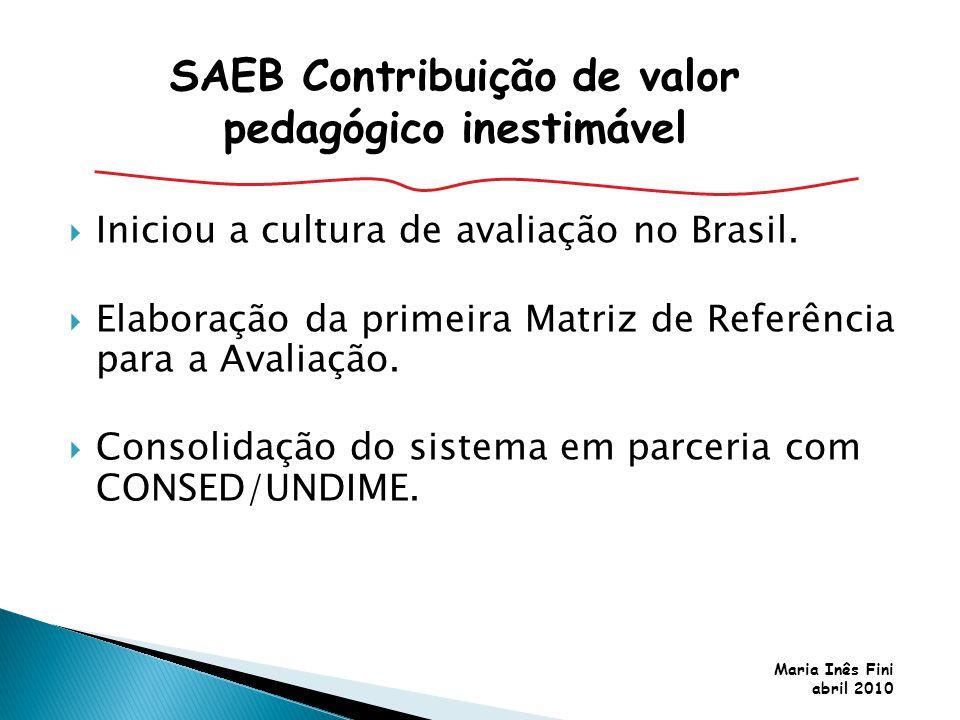 Maria Inês Fini abril 2010 Iniciou a cultura de avaliação no Brasil. Elaboração da primeira Matriz de Referência para a Avaliação. Consolidação do sis