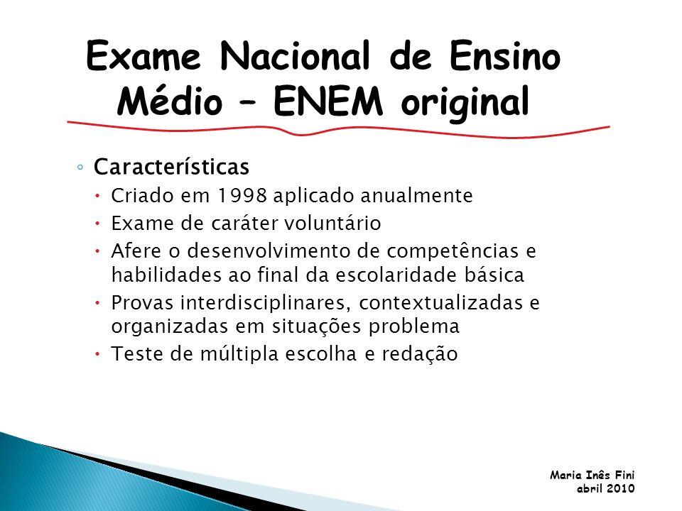 Maria Inês Fini abril 2010 Características Criado em 1998 aplicado anualmente Exame de caráter voluntário Afere o desenvolvimento de competências e ha