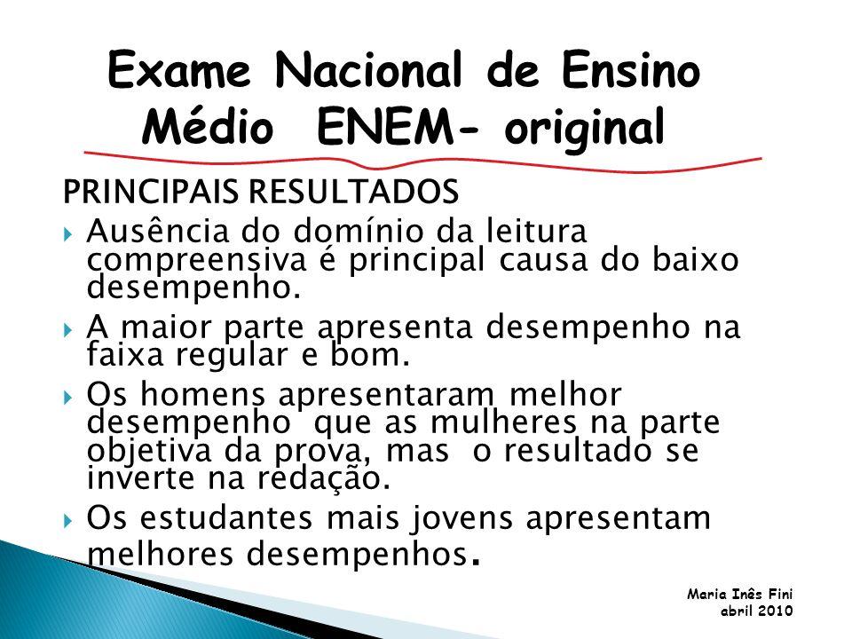 Maria Inês Fini abril 2010 PRINCIPAIS RESULTADOS Ausência do domínio da leitura compreensiva é principal causa do baixo desempenho. A maior parte apre