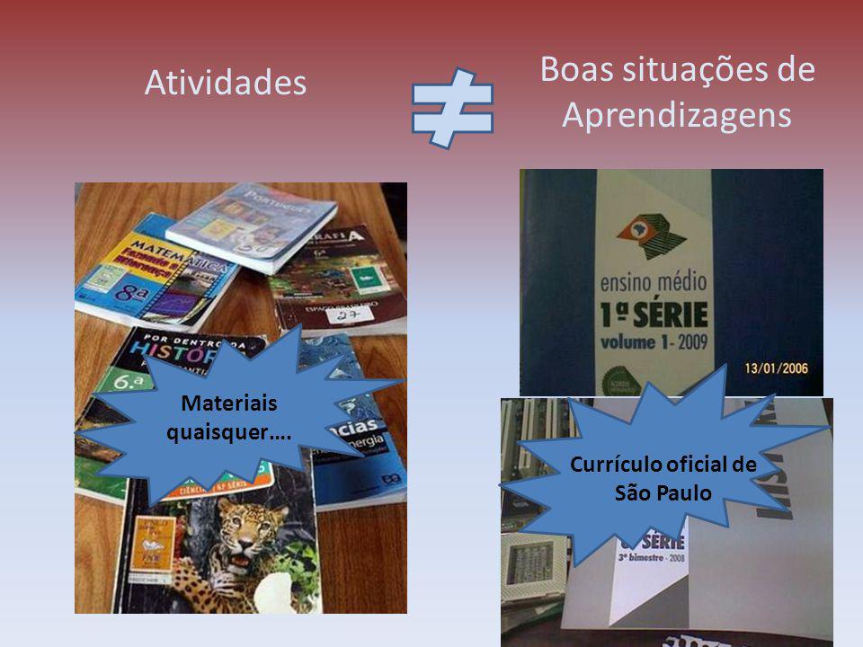Atividades Materiais quaisquer…. Currículo oficial de São Paulo Boas situações de Aprendizagens